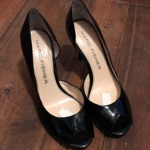Marc Fisher peep toe heels black patent size 7